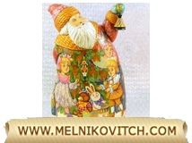 Grandfather Frost with painting motif of children and Christmas tree