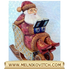 Santa Claus relax in his rocking chair