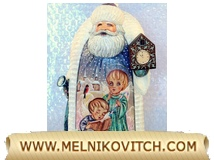 Santa Claus with clock listens to Christmas angels