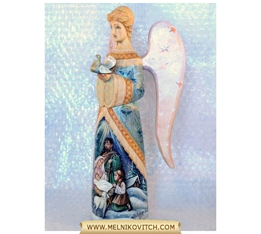 Angel with Dove figure bearing the birth of Jesus Christ motif