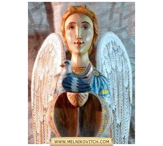 Angel Figurine as three-dimensional angel sculpture hand-carved