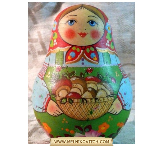 Tumbler with a basket of mushrooms, traditional Russian souvenir