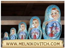 Matryoshka doll (5 pcs) with Fairy Tale Father Frost motive