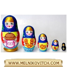 Matreshka doll 5pc with bread and salt