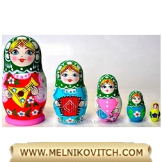 Matreshka doll 5pc set: Matryoshka toy with Balalaika