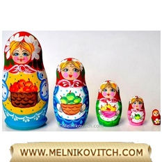 5 wooden Matryoshka dolls with apple for wine