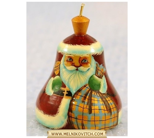 Wooden Christmas Bell with Santa Claus motif