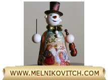 Snowman with Violin as gift box (gift container) for New Year season