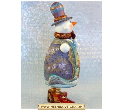 Snowman toy gift as folk character — symbol of winter seasons