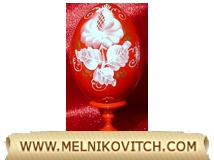 Wooden Easter egg (red flowers) with stand, floral bouquets theme