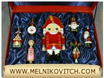 Gift set of 7 Christmas tree decorations with a nutcracker